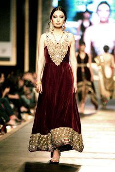 Deep maroon anarkali in gorgeous velvet. - Pakistani fashion