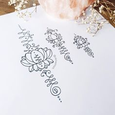 ✨Im thinking a new lotus unalome set is in order! some rough mockups for the second temporary tattoo package! #unalometattoo #unalome #lotustattoo