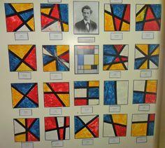 Mini Mondrians @ New Horizons Preschool.neat way to display art Kindergarten Art Lessons, Art Lessons Elementary, Montessori Art, Montessori Elementary, Mondrian Art, First Grade Art, Teaching Art, Teaching Reading, Art Curriculum