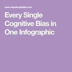 Every Single Cognitive Bias in One Infographic Cognitive Bias, Data Science, Coaching, Infographic, Language, Parenting, Mindfulness, Training, Languages