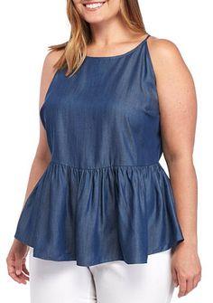 dd9e8d3251ac5 Kaari Blue™ Plus Size Sleeveless Peplum Top