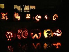 All of this years pumpkins 2014 #pumpkincarving #halloween #creativepumpkins #frenchbulldog #uw #seahawks #disney