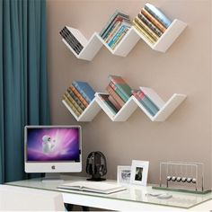 Fdit 3 Colors Creative Floating Wall She. - Fdit 3 Colors Creative Floating Wall Shelf Rack Hanging Bookshelf Home Decor,Floating Wall Shelf, H - Wall Mounted Bookshelves, Floating Bookshelves, Bookshelves In Bedroom, Floating Wall Shelves, Diy Bookshelf Wall, Bookshelf Ideas, Small Bookshelf, Wall Shelves For Books, Modern Bookshelf