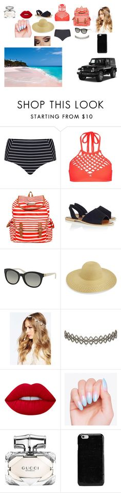 """""""beach"""" by aliyahyang1 ❤ liked on Polyvore featuring Cactus, Mikoh, Jessica Simpson, Lipsy, Michael Kors, ASOS, Assya London, Wrangler, Lime Crime and Gucci"""