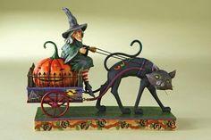 Jim Shore - Heartwood Creek - Witch On Wagon W/ Cat & Pumpkin by Enesco - 4010487 Halloween Doll, Halloween Signs, Holidays Halloween, Vintage Halloween, Happy Halloween, Halloween Decorations, Halloween Witches, Halloween Gourds, Halloween Cartoons