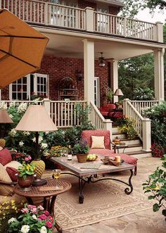 I'm a sucker for warm tones, brick, porches, and outdoor patios! Outdoor Rooms, Outdoor Gardens, Outdoor Living, Outdoor Decor, Outdoor Lounge, Outdoor Lamps, Outdoor Ideas, Outdoor Couch, Outdoor Patios