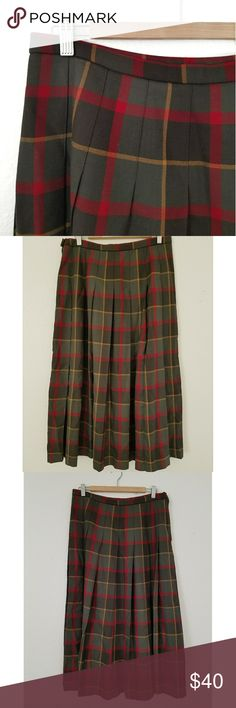 Pendleton Long Wool Plaid Skirt Womens Pendleton long, 100% virgin wool, plaid skirt. Size zipper and button for forming fit. Pleated throughout. Made in USA. Size 16. Pendleton Skirts Maxi
