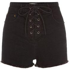 Black Lace Up High Waisted Shorts (2.020 RUB) ❤ liked on Polyvore featuring shorts, bottoms, laced shorts, high-waisted shorts, lace-up shorts, high rise denim shorts and pocket shorts
