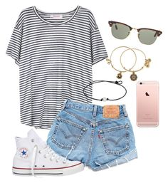 """""""Tumblr style"""" by whalesandprints ❤ liked on Polyvore featuring Organic by John Patrick, Levi's, Alex and Ani, Converse and Ray-Ban"""