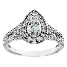 Cambridge 14k White Gold 1 1/8ct TDW Pear-cut Split Shank Diamond Ring (I-J, I1-I2)