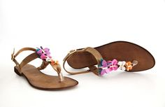 hand-made leather sandals   with lots of butterflies  model: S1-8