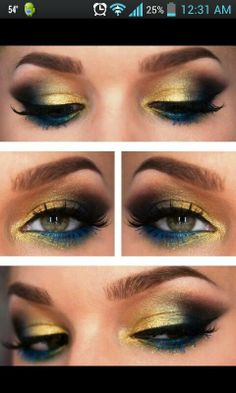 Yellow blue eyeshadow