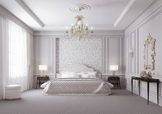 Bedroom Interior Design in Dubai Home Bedroom, Bedroom Interior, Bedroom Design, Luxurious Bedrooms, Classic Bedroom Design, Master Bedrooms Decor, Classic Bedroom, Bedroom Decor, Ceiling Design Bedroom