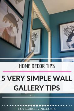 It's not easy creating the perfect wall collage, but these simple and creative gallery wall tips will help you get it right each and every time. Hallway Decorating, Decorating Tips, Modern Wall Decor, Hanging Pictures, Hanging Art, Cool Rooms, Wall Collage, Wall Art, Home Decor Inspiration