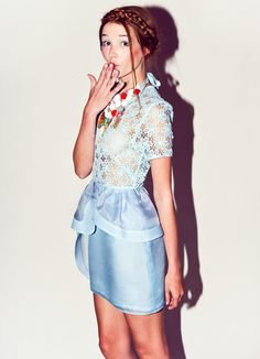 "Alice McCall Babooshka Collection  Blue lace ""Flower of the Mountain"" dress  Through the Looking Glass 
