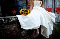 What is there not to love... Sunflowers, Purple Shoes, a Wedding Dress and Texas like accents in the background!!