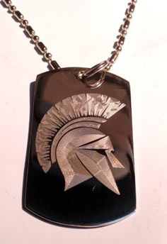 Ancient Greece Greek Warrior Spartan Helmet Logo Symbol - Military Dog Tag Luggage Tag Key Chain Metal Chain Necklace
