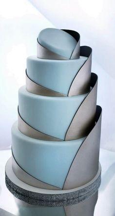 Modern, industrial geometric wedding cake
