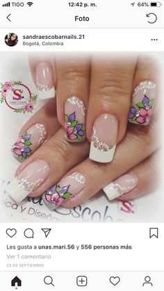 Hermoso Beautiful Nail Designs, Cute Nail Designs, Beautiful Nail Art, Gorgeous Nails, French Nails, Spring Nails, Summer Nails, Cute Nails, Pretty Nails