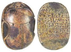 https://flic.kr/p/e2Fdii | Sadigh Gallery's Ancient Egyptian Limestone Heart Scarab | Carved brown limestone heart scarab, once placed on the throat, chest, or heart of the Mummy. Nine lines of hieroglyphics, including an Eye of Horus and cartouche, at the bottom. Some were worn by the deceased on a necklace, or mounted in gold settings as a pectoral. Heart scarabs provided the bearer with the assurance that at the final judgment as depicted in the Book of the Dead, the bearer would be…