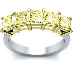 5 stone fancy yellow diamond ring.  This canary diamond ring features five radiant cut diamonds and is currently on sale at DeBebians.com