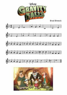 Gravity Falls, opening song, music notes, sheet music; Gravity Falls