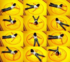 GIANT circle art made using full body movement-  fun for kids!
