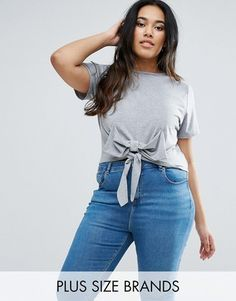 Shop Now - >  https://api.shopstyle.com/action/apiVisitRetailer?id=632722995&pid=uid6996-25233114-59 Boohoo Plus Bow Detail T-Shirt  ...