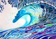 , watercolour, aquarelle, watercolor painting, wave, wave watercolor ...