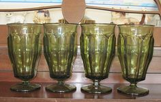 Vintage 1970s Westmoreland Olive Green Footed by AmysLostandFound $28 plus $15.50