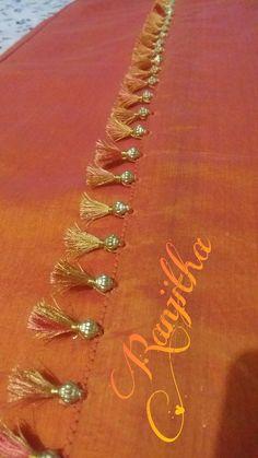 Saree Tassels Designs, Saree Kuchu Designs, Silk Saree Blouse Designs, Peacock Embroidery Designs, Applique Designs, Blouse Desings, Wedding Silk Saree, Saree Border, Indian Silk Sarees