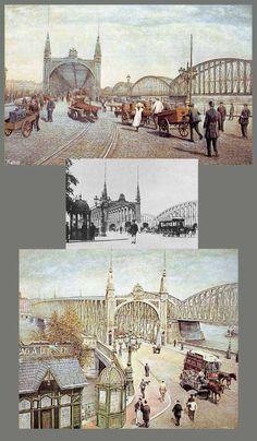 De bruggen gezien vanaf de Maaskade. (rond 1900)  De brughoofden liggen aan weerszijden nog op straatniveau.   Pas in 1927 zal de brug ten behoeve van het scheepvaartverkeer worden opgevijzeld en ontstaan zowel aan de Boompjes als in de  Van der Takstraat de lange op- en afritten richting Koninginnebrug en Stieltjesplein. Rotterdam, Holland America Line, Old Pictures, Bridges, Netherlands, Dutch, Landscape, History, City