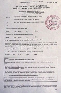 Diana Frances — The divorce papers between Charles and Diana.