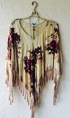 Image of Made in Paris Gypsy Stevie Nicks beaded fringe romantic velvet peasant capelet