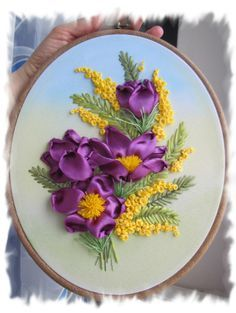 Purple and yellow flowers #ribbonEmbroidery