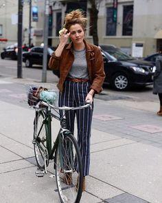 vertical striped pants + suede jacket