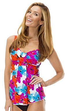77708a3a39ee6 MZ1070T Mazu Swim Womens Draped Bandeau Tankini Top 816 in Bayshore Bloom  Size 10 >>