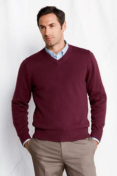 11031ea49b6fa Men s Cotton Drifter V-neck Sweater from Lands  End