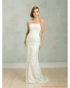 2013 Schlankes Brautkleid aus Satin Scoopausschnitt verziertes Korsett und Rock mit Schleppe
