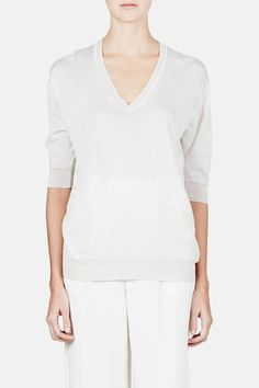 6397 — Elbow Sleeve Perfect V Neck   Light Grey — THE LINE