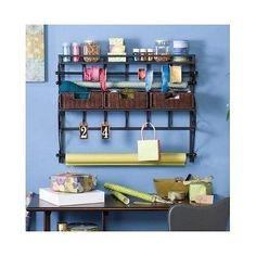 Holly & Martin Olivia Wall-Mount Craft Storage Rack w/ Baskets-Black. This wall mount craft storage rack with baskets is the best way to get your workspace clean and your crafting supplies organized. With three espresso rattan woven baskets to put yo Craft Room Storage, Craft Organization, Craft Rooms, Organizing Ideas, Storage Rack, Storage Baskets, Storage Ideas, Storage Solutions, Wall Storage