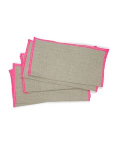 Linen cocktail napkins with hot pink stitching.