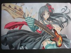 """K-on! Japanese Anime Guitarist Playing Rockbad Play Mat by Charms. $39.99. This mat measures approx 24 X 16 X 3/16 INCH"""". Flexible quality rubber mat and handy, can be rolled to fit in backpacks or just simply hand-carried. It is a MULTI-PURPOSE HEAVY DUTY MAT , It can be used as a play mat, door mat, floor mat, card mat, work mat, table mat or just decorate your room. It protects your valuable investment including your card covers or protectors from scratches from hard and r..."""