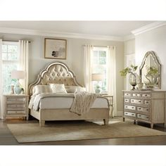Lowest price online on all Hooker Furniture Sanctuary 6 Piece Bed Bedroom Set in Pearl Essence - 3023-908XX-6PKG