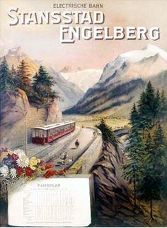 Stansstad Engelberg, Electrische Bahn, Fahrplan 1900 – Posters – Galerie 1 2 3 - The place to find vintage art Engelberg, Train Posters, Railway Posters, Vintage Ski Posters, Cool Posters, Tourism Poster, Train Art, Trains, Vintage Graphic Design