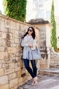 Faux fur vest with grey Vince Camuto tote on Kendi Everyday