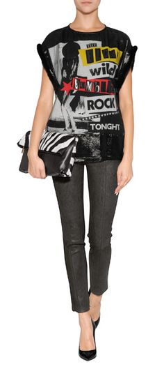Take on the punk trend in bold style with this luxe lettered top from Versace #Stylebop