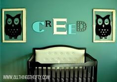 baby's name on the wall...and the owls are kind cool too