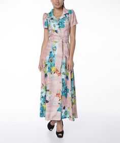 Another great find on #zulily! Pink & Turquoise Floral Button-Up Maxi Dress #zulilyfinds
