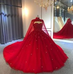 quinceanera dresses Amazing Lucky Red Ball Gown Wedding Dresses With Beadings Red Ball Gowns, Tulle Ball Gown, Ball Gowns Prom, Ball Gown Dresses, Evening Dresses, Red Gown Dress, Red Gown Prom, Afternoon Dresses, Flapper Dresses